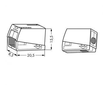 1xwago leuchtenkemmen 3 leitungen kompakt 224 112 led arena onlineshop. Black Bedroom Furniture Sets. Home Design Ideas