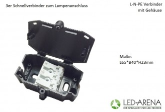 eion easyinstall 3h 230v schnellverbinder mit geh led. Black Bedroom Furniture Sets. Home Design Ideas