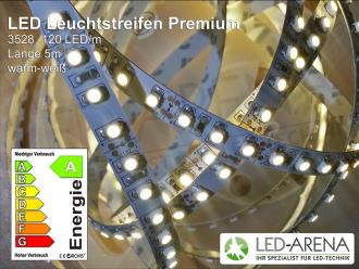 LED Strip600 Premium 5m Warmweiß 3000k 600LED 48Watt 3528 24V 9,6W/m IP54 CRI90Ra A+ 100lm/W