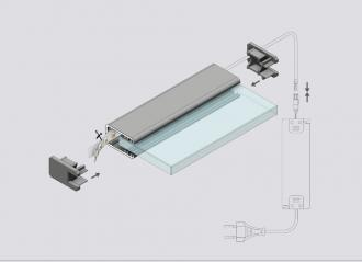 2m gk8 led glaskanten profil schwarz glaskantenbeleuchtung glasbodenbeleuchtung 200cm led. Black Bedroom Furniture Sets. Home Design Ideas