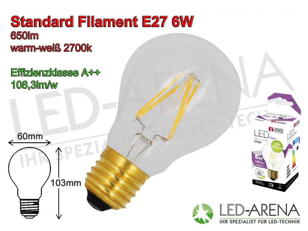 girard sudron 6w led fadenlampe standard filament klar e27 6w 2700k 110lm w a 60w ersatz. Black Bedroom Furniture Sets. Home Design Ideas