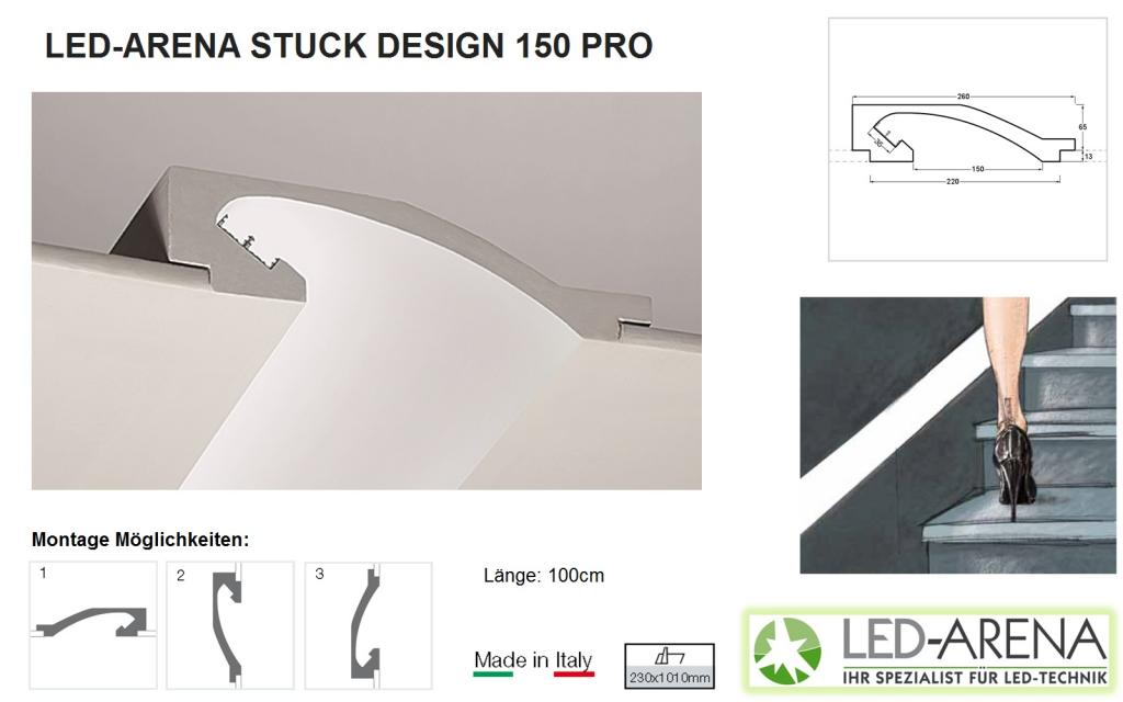 stuck design 150 pro stuck einbauprofil led arena led arena onlineshop. Black Bedroom Furniture Sets. Home Design Ideas