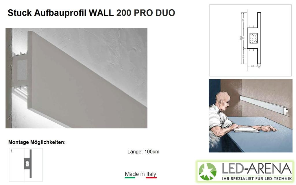 stuck aufbauprofil wall 200 pro duo led arena wand led arena onlineshop. Black Bedroom Furniture Sets. Home Design Ideas