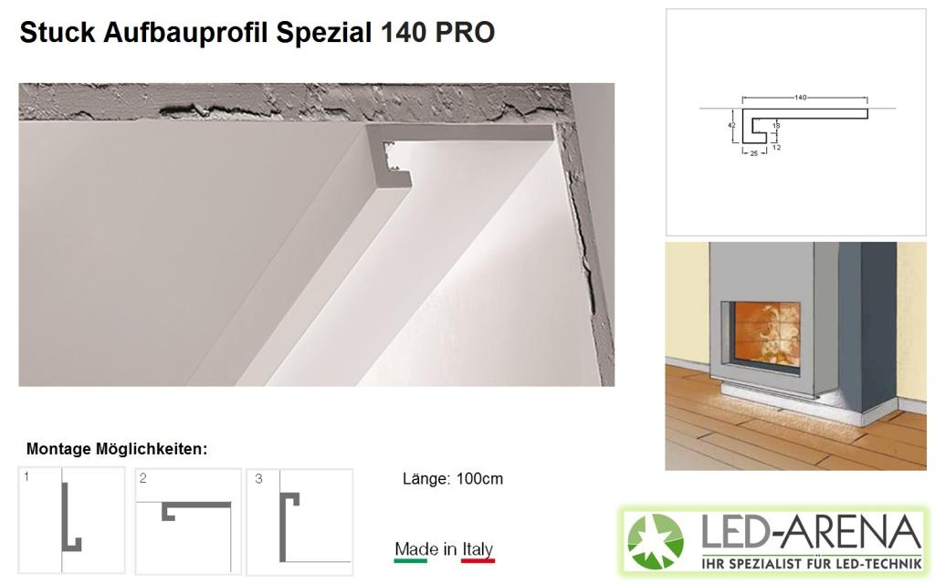 stuck aufbauprofil spezial 140 pro led arena wanda led arena onlineshop. Black Bedroom Furniture Sets. Home Design Ideas