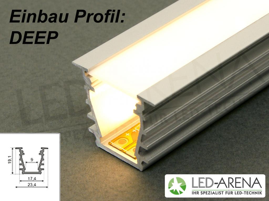 2m wa deep einbauprofil led alu profil aluminium 200cm. Black Bedroom Furniture Sets. Home Design Ideas